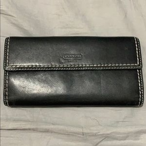 Vintage Coach Black Leather Turn Lock Wallet